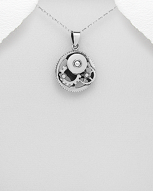 706-28892 - 925 Sterling Silver Oxidized Gear Wheels Pendant