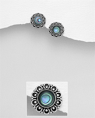 789-3760 - 925 Sterling Silver Oxidized Push-Back Earrings Decorated With Shell