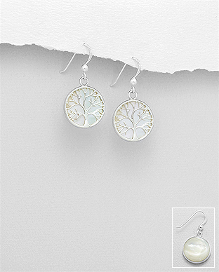 789-3770 - 925 Sterling Silver Tree of Life Hook Earrings Decorated With Shell