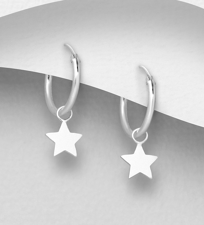 706-28944 - 925 Sterling Silver Hoop Earrings Featuring Star Charm