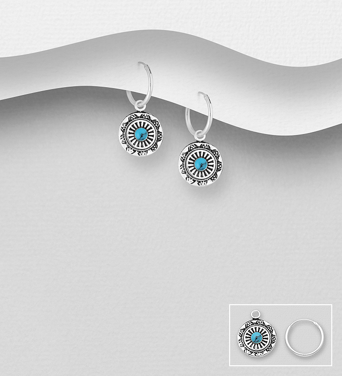 781-6118 - 925 Sterling Silver Oxidized Hoop Earrings, Decorated with Reconstructed Turquoise or Various Colored Resins