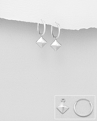 706-28964 - 925 Sterling Silver Square Pyramid Hoop  Earrings