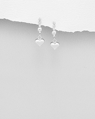 706-28966 - 925 Sterling Silver Heart And Ball Push-Back Earrings