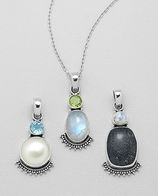 1851-137 - JEWELLED - 925 Sterling Silver Pendant, Decorated with Freshwater Pearl and Various Gemstones. Handmade. Design, Shape and Size Will Vary.