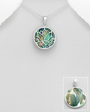 789-3781 - 925 Sterling Silver Lotus Pendant Decorated With Shell