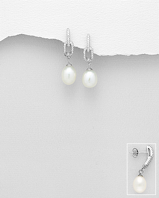 382-5213 - 925 Sterling Silver Push-Back Earrings Decorated With Fresh Water Pearls And CZ