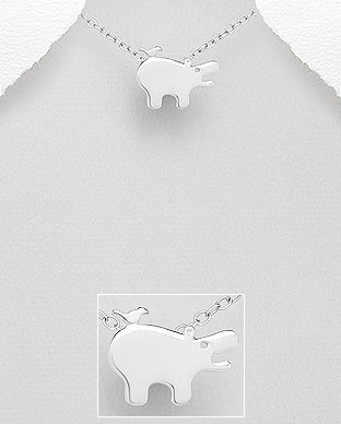 706-29062 - 925 Sterling Silver Hippopotamus And Bird Pendant