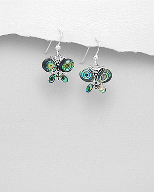 789-3796 - 925 Sterling Silver Oxidized Butterfly Hook Earrings Decorated With Shell And Resin