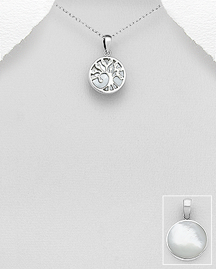789-3797 - 925 Sterling Silver Tree of Life Pendant Decorated With Shell