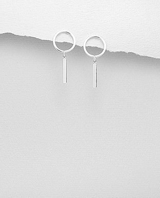 706-29121 - 925 Sterling Silver Bar And Circle Push-Back Earrings
