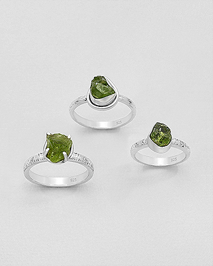 1851-172 - JEWELLED - 925 Sterling Silver Ring Decorated with Uncut Peridot. Handmade. Shape and Size Will Vary.