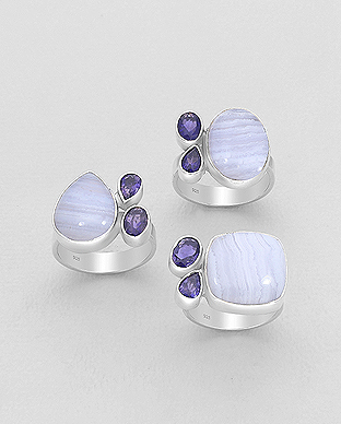 1851-187 - JEWELLED - 925 Sterling Silver Ring Decorated with Blue Lace Agate and Iolite. Handmade. Design, Shape and Size Will Vary.