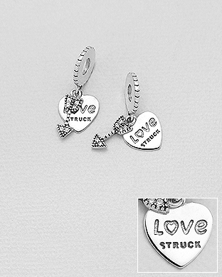 1559-491 - 925 Sterling Silver Bead-Charm Featuring Heart, Arrow And LOVE STRUCK Decorated With CZ