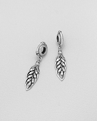 1559-494 - 925 Sterling Silver Leaf Bead-Charm Decorated With CZ