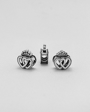 1559-495 - 925 Sterling Silver Heart And Crown Bead