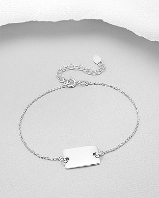 706-29167 - 925 Sterling Silver Engravable Bracelet Featuring Square Tag