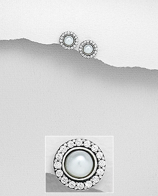 382-5233 - 925 Sterling Silver Oxidized Push-Back Earrings Decorated With Fresh Water Pearls And CZ