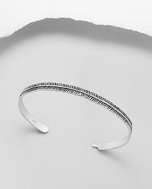 706-29301 - 925 Sterling Silver Oxidized Feather Cuff