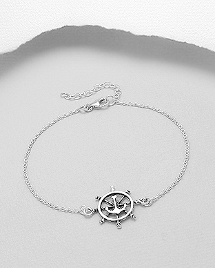 706-29302 - 925 Sterling Silver Oxidized Anchor And Ship Wheel Bracelet