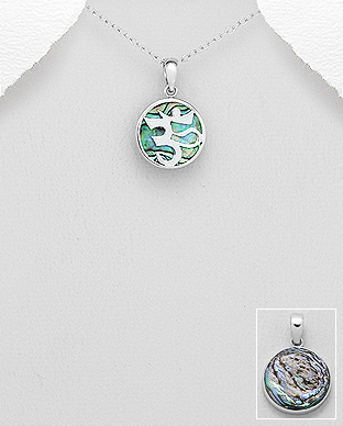 789-3833 - 925 Sterling Silver Om Sign Pendant Decorated With Shell