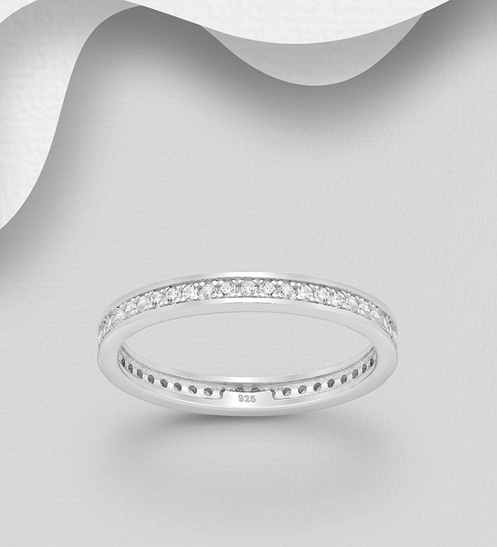 701-22965 - 925 Sterling Silver Band Ring, Decorated with CZ Simulated Diamonds, 2.5 mm Wide
