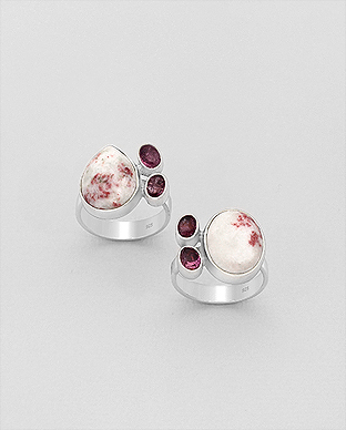 1851-206 - JEWELLED - 925 Sterling Silver Ring Decorated with Cinnabar and Pink Tourmaline. Handmade. Design, Shape and Size Will Vary.