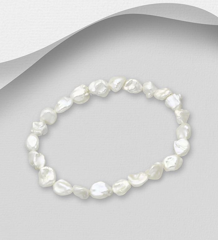 1063-2414 - Stretch Bracelet Beaded With Fresh Water Pearls