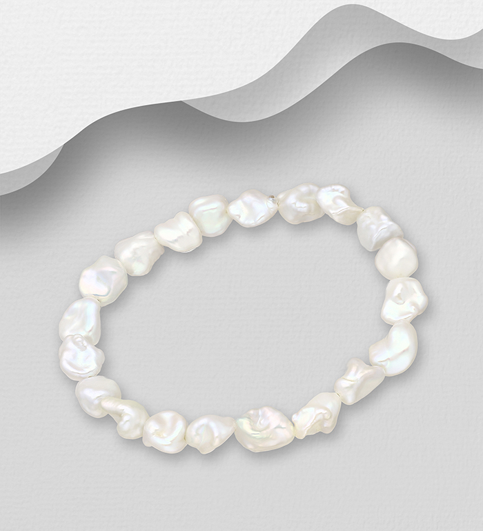 1063-2415 - Stretch Bracelet Beaded With Fresh Water Pearls