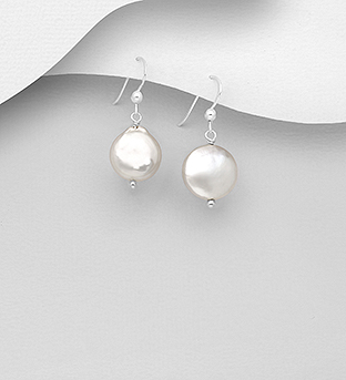 1063-2417 - 925 Sterling Silver Hook Earrings Beaded With Fresh Water Pearls