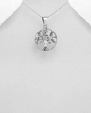 789-3839 - 925 Sterling Silver Oxidized Tree of Life Pendant Decorated With Shell