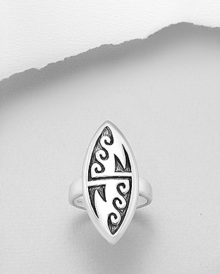 706-29448 - 925 Sterling Silver Oxidized Wave Ring