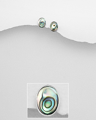 789-3843 - 925 Sterling Silver Push-Back Earrings Decorated With Shell