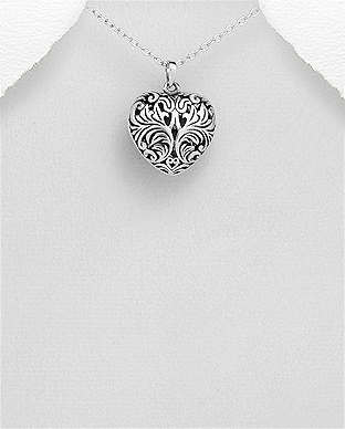 706-29515 - 925 Sterling Silver Oxidized Leaf Pendant