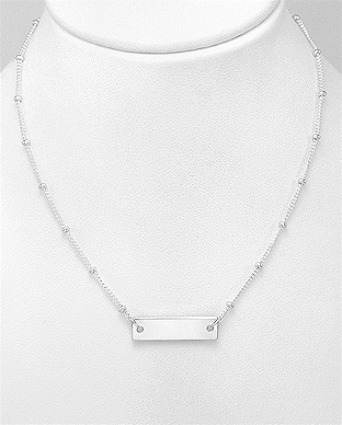 706-29562 - 925 Sterling Silver Bar Engravable Necklace