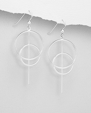 706-29577 - 925 Sterling Silver Bar and Circle Links Hook Earrings