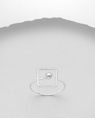 706-29611 - 925 Sterling Silver Geometric Wire Ring Featuring Ball And Square