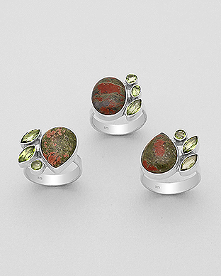 1851-260 - JEWELLED - 925 Sterling Silver Ring, Decorated with Unakite and Peridots. Handmade. Design, Shape and Size Will Vary.