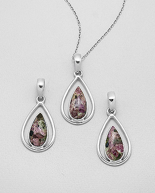 1851-263 - JEWELLED - 925 Sterling Silver Pendant Decorated with Tourmaline. Handmade. Shape and Size Will Vary.