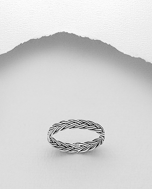 706-29690 - 925 Sterling Silver Oxidized Weave Ring