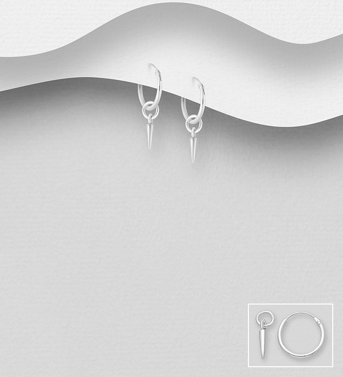 706-29725 - 925 Sterling Silver Spike Hoop Earrings