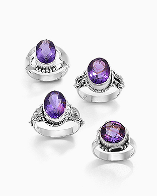 1851-267 - JEWELLED - 925 Sterling Silver Oxidized Ring Decorated with Amethyst. Handmade. Design, Shape and Size Will Vary.