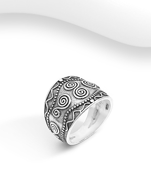 706-29781 - 925 Sterling Silver Oxidized Coil Ring