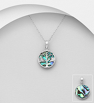 789-3888 - 925 Sterling Silver Pendant Featuring Fox And Tree Decorated With Shell