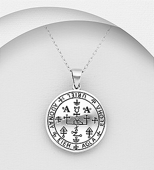 706-29812 - 925 Sterling Silver Oxidized Sigils of The Seven Archangels Uriel Pendant