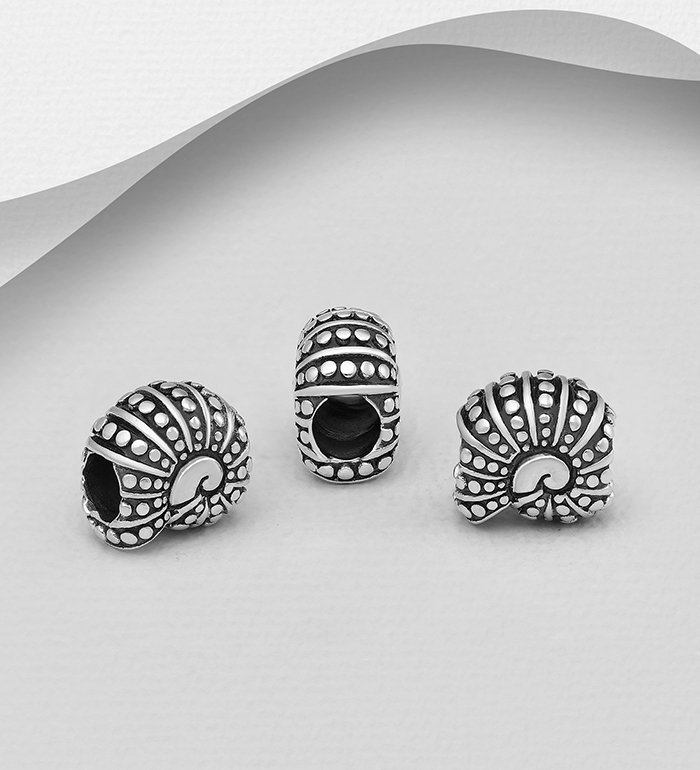 1559-510 - 925 Sterling Silver Oxidized Shell Bead