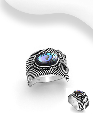 789-3903 - 925 Sterling Silver Oxidized Feather Ring Decorated With Shell