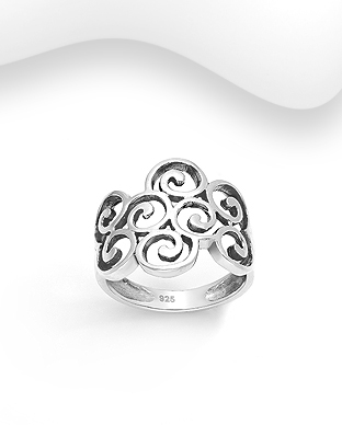 706-29876 - 925 Sterling Silver Oxidized Swirl Ring