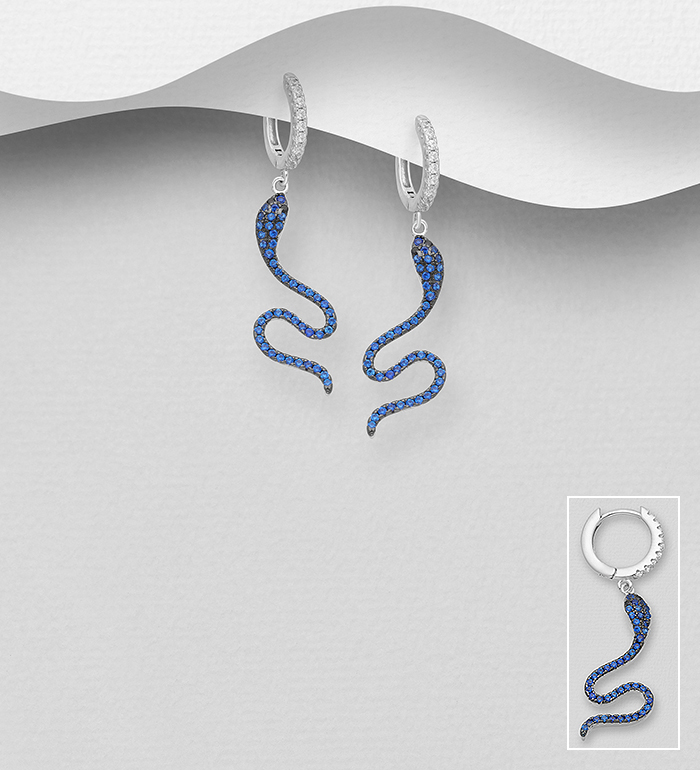 701-23337 - 925 Sterling Silver Hoop Earrings Featuring Snake Decorated with CZ Simulated Diamonds