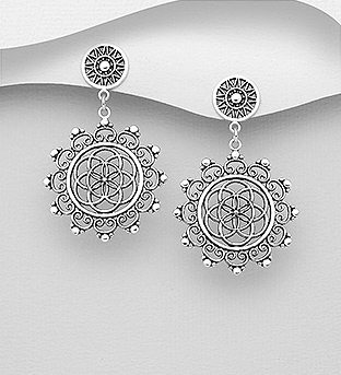 706-29931 - 925 Sterling Silver Oxidized Flower of Life Push-Back Earrings