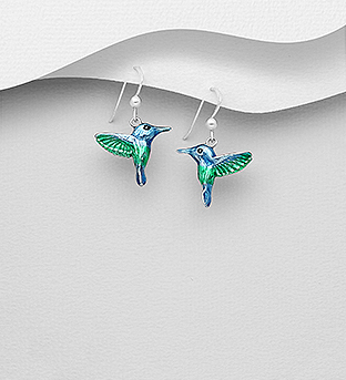 706-29945 - 925 Sterling Silver Bird Hook Earrings Decorated With Colored Enamel